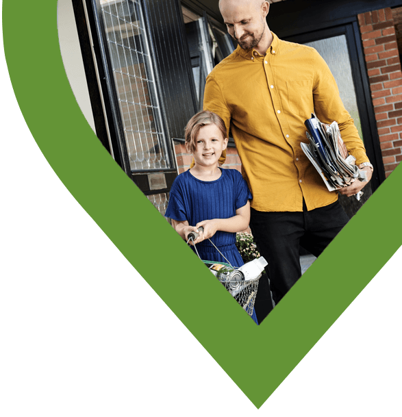 Far og datter i grønt hjerte